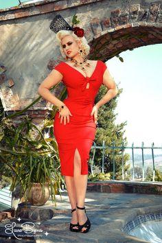 Niagara Dress in Red Stretch Bengaline $98 at pinupgirlclothing.com