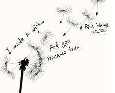 Dandelion Blowing From Puff With Quote Tattoo Design By Rita Haley