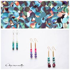 JEWELRY | Chryssomally || Art & Fashion Designer - Geometria boho luxe silver and gold earrings collection with green, grey, fuchsia, purple, mint and burgundy gemstones