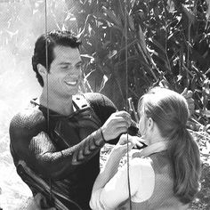 Miss Amy Adams and Henry Cavill as Lois Lane and Clark Kent behind the scene of Zack Snyder's Man of Steel.