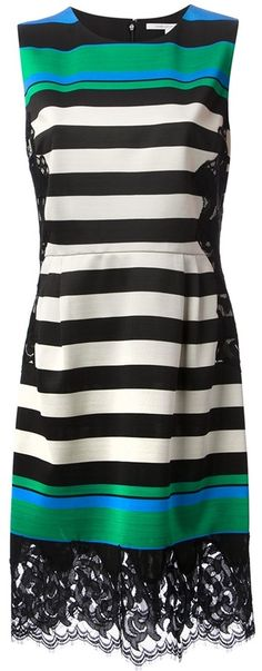 $778, Multi colored Horizontal Striped Party Dress: Diane von Furstenberg Striped Lace Panel Dress. Sold by farfetch.com. Click for more info: https://lookastic.com/women/shop_items/30067/redirect