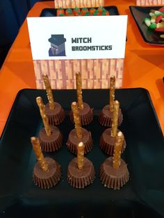 Minecraft Halloween Party Witch ~ we pushed pretzel sticks into upside down mini Reese cups :) #minecraft #halloween