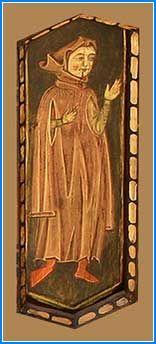 En el hexágono contiguo se puede ver una figura que viste un tabardo con largas mangas y capuchón, que hace pensar en un letrado o doctor más que en un noble con quien también se le ha intentado identificar.