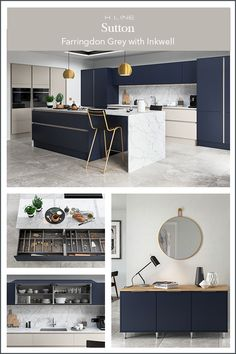 Brighten a dark blue kitchen with warm grey tones and create a large open plan space. So your kitchen flows from to kitchen to living are add freestanding furniture like a Sideboard a coffee table in dark blue. Masterclass Kitchens distribute kitchens across to independent retailers across England, Wales and Scotland