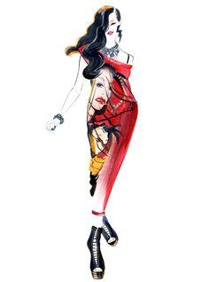 Betsey Johnson-illustration by Sunny Gu #fashion #illustration #fashionillustration