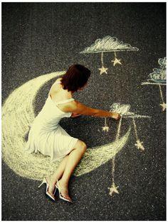 girl, moon, stars