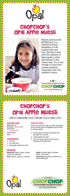 Opal Apple Muesli #chopchop #KidsRecipes #OpalApple