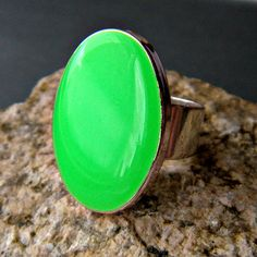 Neon Green Oval Statement Ring Resin Adjustable by CarrieCreative, $12.00