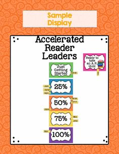 Encourage students to meet their Accelerated Reader goals with this interactive bulletin board display and certificates. The AR certificates allow you to celebrate students milestones as they hit their percentage goals of 25%, 50%, 75% and 100%. This colorful resource allows you to mix and match colors or find colors that match your classroom theme. #acceleratedreader #classroomdecor #reading