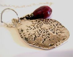 Lotus Petal Wire Wrapped Ruby Gemstone Pendant by YourDailyJewels