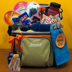 Sport items in a soft-sided cooler. Fill with gadgets like a pedometer, stopwatch, UV-protective sunglasses, sunscreen, energy bars, a water bottle with clip. If you want to spend a little more, add an iTunes gift card or go all out with a new iPod tucked into a wearable armband. Fun!