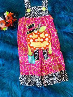 Millie Jay Girls Zebra Halloween Pumpkin Overall Pants