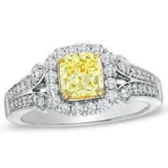 1.18 CT. T.W. Certified Cushion-Cut Yellow Diamond Frame Engagement Ring in 18K White Gold (P/SI2)
