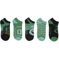 Harry Potter Slytherin No-Show Socks | Hot Topic (£16) ❤ liked on Polyvore featuring intimates, hosiery, socks and lullabies
