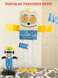 Recycled Packaging Robot Craft For Kids, great for parties year round or even…