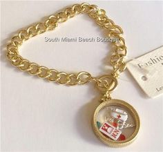 Nurses Gold Memory Bracelet Locket Nursing Gift Enamel Caduceus Cap Glass RN #SouthMiamiBeachBoutique #Traditional