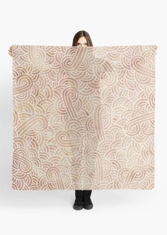"""""""Iced coffee and white zentangles"""" Scarf by Savousepate on Redbubble #scarf #clothing #abstract #zentangles #doodles #scrolls #spirals #brown #chocolate #icedcoffee #neutralcolors #pantonecolors2016"""