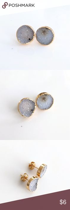 Gold-plated natural druzy stud earrings CLOSET CLOSING CLEARANCE!  All prices are firm; no additional offers accepted.  I'm earning no profits, just liquidating everything before moving abroad.    I'm listing as many items as I can as quickly as I can, but things are selling fast, so grab your faves while you can!   Nickel and lead free. Jewelry Earrings
