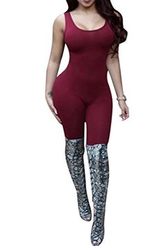 66d72bdd1e9c Pink Queen Womens Sexy Bodycon Sleeveless Shapewear Bodysuits Jumpsuits  Wine   More info could be found