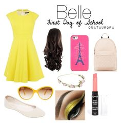 """""""Belle """"First Day of School"""""""" by ouataurora ❤ liked on Polyvore featuring Karen Millen, Wet Seal, NYX, Red Herring and Casetify"""
