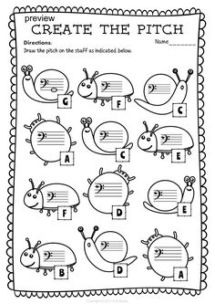 Bass Clef Note Naming Worksheets for Spring * Anastasiya Multimedia Studio Music Math, Music Classroom, Piano Lessons, Music Lessons, 2nd Grade Music, Bass Clef Notes, Music Theory Worksheets, Piano Teaching, Learning Piano