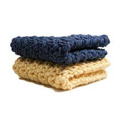 Crochet  Navy Blue and Yellow Dishcloth, Washcloth Set of 2 Cotton Dish Rags, Dish Cloth, Wash Cloth