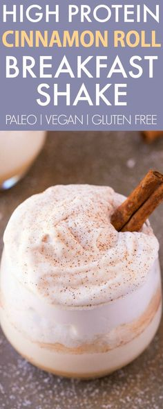 THICK CREAMY High Protein Cinnamon Roll Shake V GF Paleo - A delicious filling breakfast or snack high protein smoothie which tastes like a cinnamon roll Sugar free and dairy free too vegan gluten free paleo recipe - High Protein Smoothies, Protein Smoothie Recipes, High Protein Snacks, Healthy Breakfast Smoothies, Breakfast Recipes, Eat Breakfast, Healthy Filling Breakfast, Healthy Snacks, Diabetic Smoothies