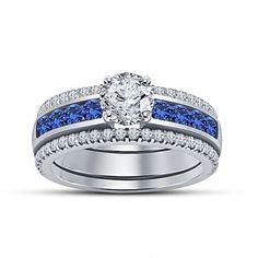 VVS1 Diamond Channel & Prong Setting 925 Silver Women's Wedding Bridal Ring Set #Aonejewels