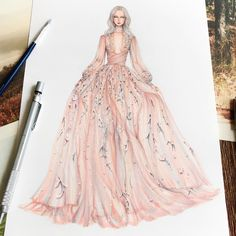 Fashion Designer Illustrates Gorgeous Gowns in Enchanting Detail The collection of gown designs by fashion illustrator Eris Tran showcase the artist's avant-garde approach to traditional dress design. Dress Design Sketches, Fashion Design Sketchbook, Fashion Design Drawings, Fashion Sketches, Dress Designs, Fashion Drawing Dresses, Fashion Illustration Dresses, Fashion Dresses, Drawing Fashion