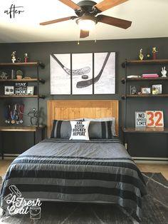 House of Hockey.Room — A Fresh Coat - Boys bedrooms - House of Hockey…Room — A Fresh Coat - Teen Boys Room Decor, Teenage Room, Boys Bedroom Decor, Room Ideas Bedroom, Teen Boy Bedrooms, Teen Rooms, Boys Hockey Bedroom, Hockey Room Decor, Cool Boys Room