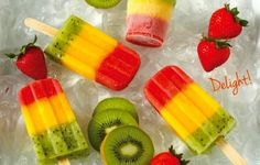 Strawberry, Mango and Kiwi Layered Fruit Pops - love fruity desserts that are healthy (can use stevia or even leave out sugar and use fruit's own natural sweetness) Squires Reyes Kiwi Popsicles, Homemade Popsicles, Homemade Ice, Homemade Breads, Frozen Desserts, Frozen Treats, Just Desserts, Creative Desserts, Fruit Ice Pops