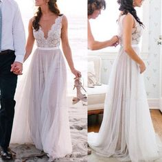 Popular Lace Top Tulle Online Long Beach Wedding Dresses, PM0609 The dress is fully lined, 4 bones in the bodice, chest pad in the bust, lace up back or zipper back are all available. This dress could