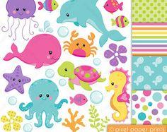 Sea animals NEUTRALS Clip art and digital by pixelpaperprints