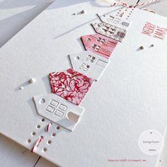 papierZART : Rot&Weiß, Häuserreihe, Cardmaking, Merry Christmas Weihnachtskarte, Weihnachten, Alexandra Renke, aRTeam, papierZART