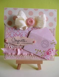 Baby girl card, but could really be for any occasion. LOVE the mini envie, would be cute to put a tag in it and have some fiber or cute ribbon hanging out.