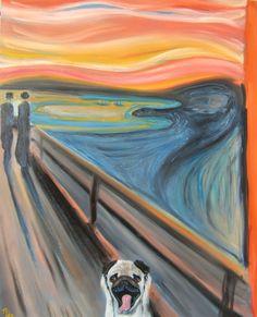 """11x14 / Two for 1 / Pug Art Dog Print / """"Scream"""" / a Pug Parody by Original Mike Holzer. $18.50, via Etsy."""
