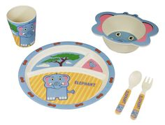 Bamboo Kids Mealtime 5 Piece Eddie The Elephant Box Set is specifically designed for children who are beginning to eat on their own. The colorful, durable next generation set promotes self-feeding hab
