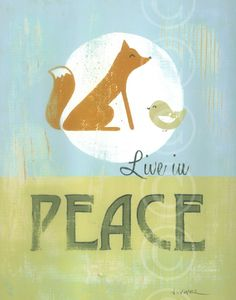 Live in Peace retro sign art print by jeannewinters on Etsy