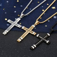 """Silver, Gold or black """"I Can Do All Things"""" Philippians Cross Pendant with Necklace Philippians 4 13, Stainless Steel Jewelry, Necklace Sizes, Metal Jewelry, Cross Pendant, I Can, Rust, Size 2, Fashion Accessories"""