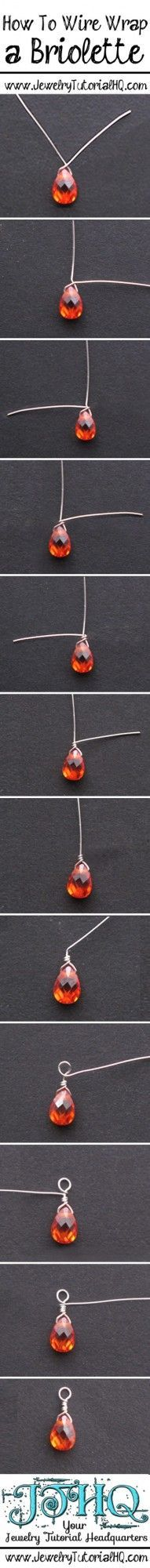 How to wire wrap a briolette step by step tutorial