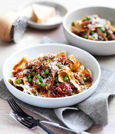 Maltagliati di pane with braised lamb neck, peas and rosemary :: Gourmet Traveller