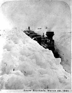 Snow blockade. Here's the link to a fascinating article regarding the Long Winter about which Laura Ingalls Wilder wrote: http://boingboing.net/2012/12/11/the-meteorology-of-little-hous.html When I looked around online for that specific 1881 steam train, I was surprised at how OFTEN trains have been stranded when the railroad cuts filled up with snow. Really, it happened a lot!