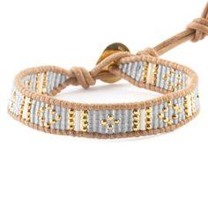 Shadow Grey Beaded Cuff Bracelet on Beige Leather - Chan Luu