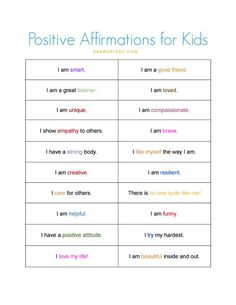 Enjoy this positive affirmations for kids free printable and find out how I help my kids get a great start each and every day. Positive Affirmations For Kids, List Of Affirmations, Positive Self Talk, Positive Attitude, Positive Thoughts, Coping Skills, Social Skills, Anchor Charts, Relation D Aide