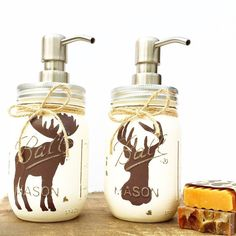 Our original, hand painted Deer and Moose Mason Jar soap dispensers add a touch of rustic, country to your home decor! Each jar . Pot Mason, Mason Jar Crafts, Mason Jar Diy, Bottle Crafts, Moose Mason, Lotion, Mason Jar Soap Dispenser, Soap Dispensers, Moose Decor