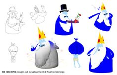 thedavidoreilly:  Part 1 of some character layouts from my Adventure Time episode. Cartoon Network asked for these last year for something. The drawings on the left are copied from my boards, tho obviously these are all existing characters. I did the 3d modeling & morph targets. The rigging was done by Parzival Rothlein and Mark Feller at Studio Soi in Germany. They did an incredible job mixing the different shapes and adding crazy deformers on top of everything.  Behind the scenes on the CG…