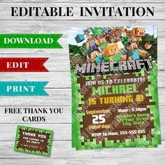 Printable Minecraft Invitation Pdf Design 2 Minecraft Printables Minecraft Invitations Minecraft Birthday Invitations Minecraft Party Invitations