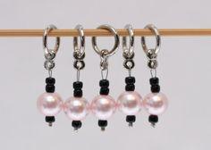 Stitch Markers, Pink Pearl, Black, snagless