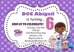 Custom Printable DOC MCSTUFFINS 5 x 7 Birthday Invitation.