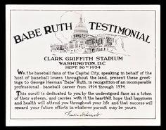 "September 30, 1934 ""Babe Ruth Testimonial"" Griffith Stadium Program ..."